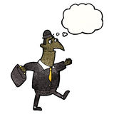 Karikaturgeschäftsmann, der arbeiten geht Lizenzfreie Stockbilder
