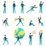 Karikaturgeschäftsmanncharakter in den verschiedenen Haltungen Stockbild