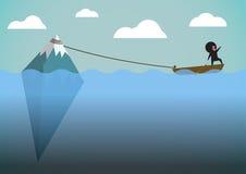 Karikaturgeschichtenboot mit Eis Lizenzfreies Stockbild