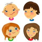 Karikaturgesichter der Kinder. Set Abbildungen Lizenzfreie Stockfotografie