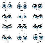 Karikaturgesichter mit verschiedenen Ausdrücken Stockbild