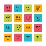 Karikaturgesichter mit verschiedenen Gefühlen Stockbild