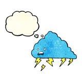 Karikaturgewitterwolke mit Gedankenblase Stockfoto