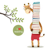 Karikaturgiraffe, die einen Stapel von Büchern hält vektor abbildung