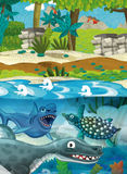 Karikaturglückliche Unterwasserdinosaurier Lizenzfreie Stockfotos