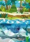 Karikaturglückliche Unterwasserdinosaurier Stockbild