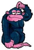 Karikaturgorilla, der seinen Kopf löscht Stockbild