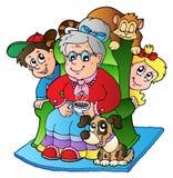 Karikaturgroßmutter mit zwei Kindern Stockfotos