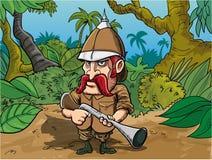 Karikaturgroßwildjäger Stockbild