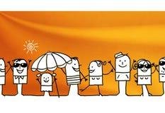 Karikaturgruppe von personen und Sommerzeit stock abbildung