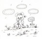 Karikaturhäschen in einem Garten Stockfotografie