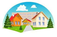 Karikaturhäuser auf weißem Hintergrund Lizenzfreie Stockfotografie