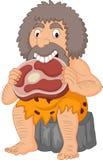 Karikaturhöhlenbewohner, der Fleisch isst vektor abbildung