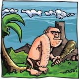 Karikaturhöhlenbewohner mit einem Klumpen Lizenzfreies Stockbild