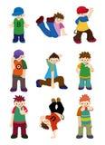 Karikaturhüftehopfenjungentanzen-Ikonenset Stockfoto