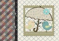 Karikaturhühner unter einem Regenschirm lizenzfreies stockfoto