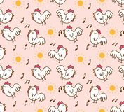 Karikaturhühnermorgens nahtloses Muster stock abbildung