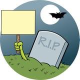 Karikaturhand, die aus ein Grab hält ein Zeichen herauskommt Lizenzfreies Stockbild
