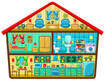 Karikaturhaus in einem Schnitt Lizenzfreies Stockfoto