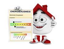 Karikaturhaus mit Energiezertifikat Stockbilder