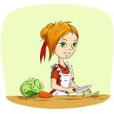 Karikaturhausfrau, die Gemüse kocht Stockfotos