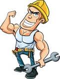 Karikaturheimwerker, der seine Muskeln biegt Stockfoto