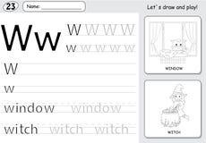 Karikaturhexe und -fenster Spurarbeitsblatt des Alphabetes: Schreiben von a vektor abbildung