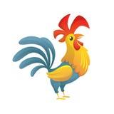 Karikaturhühnerhahnaufstellung Vektorillustration des Symbols des neuen Jahres Stockbilder