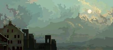 Karikaturhimmelhintergrund mit Wolken und alten verlassenen Häusern Stockbilder
