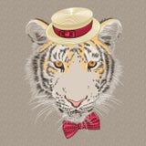 Karikaturhippie-Tiger des Vektors lustiger Stockbilder