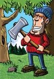 Karikaturholzfäller, der eine Axt anhält Lizenzfreie Stockbilder