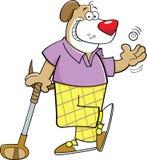 Karikaturhund, der Golf spielt Stockbild