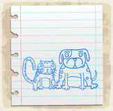 Karikaturhund eine Katze auf Papieranmerkung, Vektorillustration Stockbild