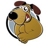 Karikaturhund mit dem Daumen oben Stockfotografie