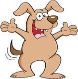 Karikaturhund mit den ausgestreckten Armen Stockbild