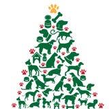 Karikaturhund- und -katzen Weihnachtsbaum Stockfoto