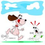 Karikaturhund und -knochen Lizenzfreie Stockfotos