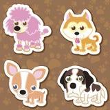 Karikaturhundeaufklebersatz. Stockbild