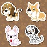 Karikaturhundeaufklebersatz. Stockbilder