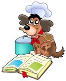 Karikaturhundechef mit Rezeptbuch Stockbild