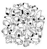Karikaturhundesatz, Vektorillustration Stockbilder