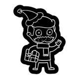 Karikaturikone eines Mannes mit dem Schnurrbart- und Weihnachtsgeschenk, das Sankt-Hut tr?gt vektor abbildung