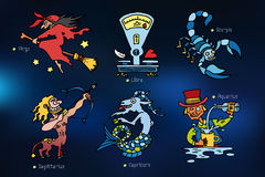 Karikaturikonen mit Zeichen des Tierkreises Stockfotos
