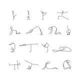 Karikaturikonen stellten von den Stockzahlen der kleinen Leute der Skizze ein, die Yoga tun Stockfotos