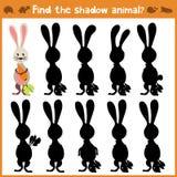 Karikaturillustration der Bildung findet passendes Schattenschattenbild-Tierkaninchen Zusammenpassendes Spiel für Kinder von pres Lizenzfreie Stockfotografie