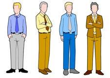 Karikaturillustration der Gruppe Geschäftsmann-Stellung Stockfotos
