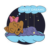 Karikaturillustration der Hand die Sterne und süßen die Träume des Schlafenbabys im sternenklaren Himmel zeichnend Auch im corel  Stockfoto