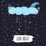Karikaturillustration der Handzeichnung eines lächelnden Mondes und der Sterne, die gute Nacht im sternenklaren Himmel wünschen V stock abbildung