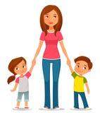 Karikaturillustration der Mutter mit zwei Kindern Stockbilder