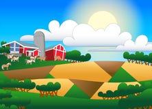 Karikaturillustration des Ackerlands mit Gebäuden und Menge Lizenzfreies Stockfoto